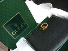 New in Box Vintage 1960s GUCCI Wallet Black Leather Gold G Logo Clasp $95 FREE Ship in U.S.  #Gucci #Box