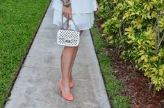White Dress - coral pumps