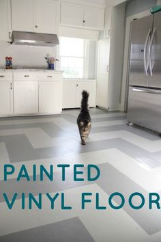Before and after linoleum floor makeover painted for Painting kitchen floors vinyl