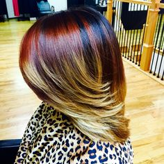 Ash Blonde & Red Brown Ombré    Pink & Black Hair Studio  11e Chesapeake Ave  Towson,Md 410-938-8900