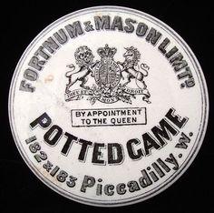 Antique Victorian POTTED GAME Pot and Lid 1885 Scotlands National Animal, Jar Lids, Jars, Old Crocks, Printable Labels, Printables, Cosmetic Labels, Pot Lights, Food Advertising