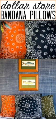 THESE ARE DARLING! Popular and SUPER affordable DIY bandana pillows from heatherednest.com Great for indoors or outdoors, as used in her son's fishing/camping/outdoor adventure boy's bedroom #bandana #bandanacrafts #bandanapillow #bandanapillows #dollarstorecrafts #dollarstore #dollartree #easypillows #bandanacraft #bandanna Easy Home Decor, Cheap Home Decor, Home Decoration, Decoration Design, Bandana Crafts, Bandana Ideas, Crafts With Bandanas, Do It Yourself Decoration, Dollar Tree Crafts