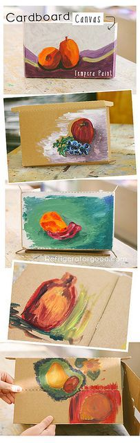 """Still life """"mini-cardboard canvas"""" : High School Art lesson- This blog has many other ideas for projects too"""