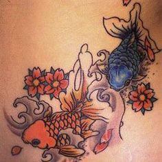 腰,ワンポイント,金魚,桜,花タトゥー/刺青デザイン画像