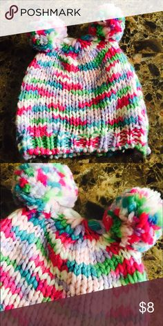 Girl's winter hat Multi-color girl's knit winter hat; two fluff balls on the top; thick material; warm Accessories Hats