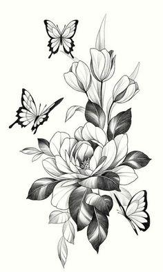 Flower Vine Tattoos, Flower Tattoo Drawings, Tattoo Design Drawings, Dope Tattoos, Mini Tattoos, Body Art Tattoos, Sleeve Tattoos, Floral Tattoo Design, Flower Tattoo Designs