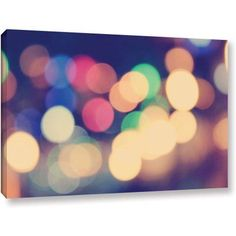 ArtWall John Black Blurred Lights Gallery-Wrapped Canvas, Size: 24 x 36, Green