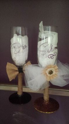 Rustic/Redneck/Country 8oz toasting/champagne glasses bride/groom wedding decor/favor/gift by 1ArtsyVixen on Etsy