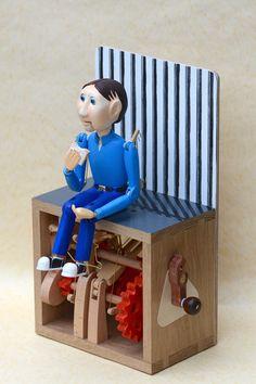Quiet contemplation of a sandwich  A wooden contemporary