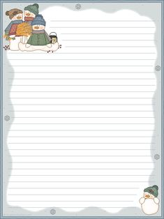 Free printable stationary Lots of different themes Nice for Christmas letters to include in Christmas Cards. snwmst1el.png (638×851)