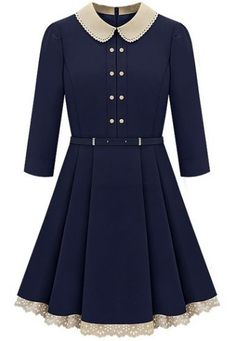 Navy Long Sleeve Contrast Lapel Pleated Dress pictures