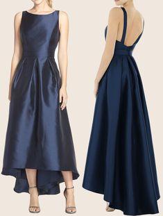 03eb41e36a1 Straps O Neck Taffeta Hi-Lo Bridesmaid Dress Dark Navy Formal Gown  macloth