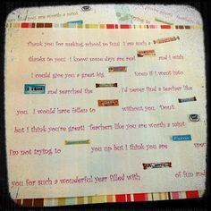 3 Little Things.: A Very Sweet Thank You Treat Candy Bar Sayings, Candy Quotes, Make School, School Gifts, School Days, School Stuff, Teacher Doors, Teacher Cards, Teacher Treats