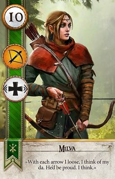The Witcher Gwent Card Art - Milva High Fantasy, Fantasy Rpg, Fantasy Women, Medieval Fantasy, Fantasy Artwork, Archer Characters, Dnd Characters, Fantasy Characters, Female Characters