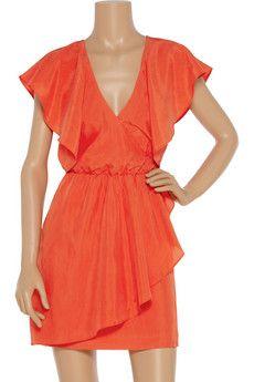 draped orange dress.