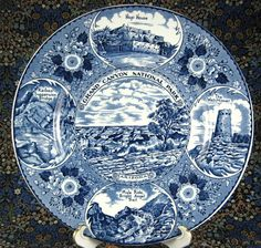 1940s blue transferware souvenir plate from Grand Canyon National Park. Made by Myott in England.