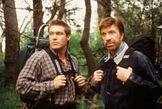 Walker's bachelor party a weekend camping with Gage (Judson Mills, left), Trivette and Walker (Chuck Norris, right) is disrupted by a Grizzly bear. Country Music Stars, Country Music Singers, Chuck Norris Movies, Walker Texas Rangers, Rangers Baseball, Homeless Man, Old Tv Shows, Best Tv, Martial