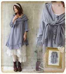 mobile site-free shipping!vintage bohemian style women ruffles dress,cotton women dress,halfsleeve women dress with wraps