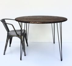 36 round hairpin table dark walnut pine table by GroveAndAnchor