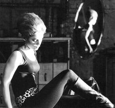 "Edie Sedgwick, with a silver bouffant hair-do in ""Vinyl,"" her first Andy Warhol film, 1965. #EdieSedgwick #AndyWarhol"