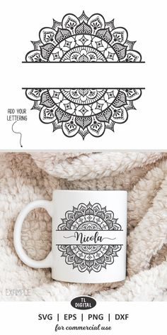 Add your own lettering to this pretty Split Mandala Design to create personalised items - svg, eps, dxf and png file formats for crafters requirements - print or cut. Doodle Art Drawing, Mandala Drawing, Pencil Art Drawings, Art Drawings Sketches, Mandala Sketch, Mandala Doodle, Mandala Art Lesson, Mandala Artwork, Mandala Print