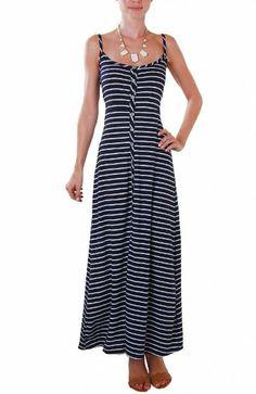 Humble Chic NY Women's Giselle Striped Maxi - Button Spaghetti Strap Dress
