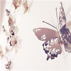 Silver Butterflies Stainless Steel Mirror Waterproof and Eco-friendly 9 Pieces 3D Wall Stickers