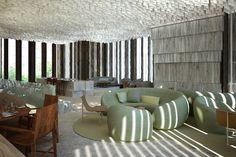 Adam Rolston, Gabriel Benroth, Drew Stuart, Green, Hotel, lobby, glass, chair, wood, carpet, white, crystal, windows