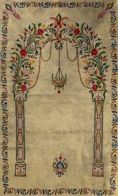 Cross Stitch Floss, Cross Stitch Patterns, Islam, Embroidery Motifs, Turkish Art, Prayer Rug, Baby Knitting Patterns, Rococo, Felt