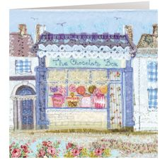 HD02 The Chocolate Box - Handmade Cards from Abigail Mill Embroidery Raw Edge Applique, Machine Embroidery Applique, Hand Embroidery, Fabric Cards, Fabric Pictures, Thread Art, Sewing Appliques, Fabric Houses, Textile Art