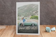 """""""Modern Script"""" - Classical, Simple Foil-pressed Save The Date Cards in Rose Gold by Hooray Creative."""