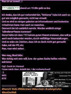 HEUTE: Gegen Hartz IV! Aber wie? -Infos vom Insider- MA 10. März ab 19 Uhr im TT2 Mannheim