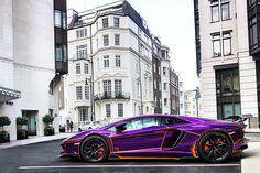 Lamborghini #Aventador #Purple & #Orange oh my god Halloween colors. I love this.