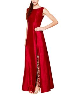 Indian Fashion Designers - Anita Dongre - Contemporary Indian Designer - Jackets - AD-AW15-FW15RR254 - Ruby Toned Jacket Set