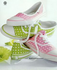 pink and green polka dot sneakers