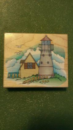 LIGHTHOUSE SCENE Hero Arts Rubber Stamp Cottage Seaside Picket Fence H1055  #HEROARTS