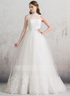 Ball-Gown High Neck Chapel Train Bow(s) Zipper Up Covered Button Cap Straps Sleeveless Church General Plus No Spring Summer Fall Ivory Tulle Lace Wedding Dress