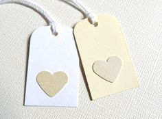 Heart Gift Tags Party Favor Tags Price Tags Cream by CatchSomeRaes, $1.50