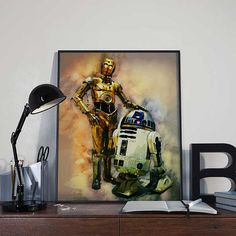 R2D2 and C3PO Droids Star Wars Art Print Poster by BlackSailsUK