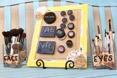 Magnetic makeup board   http://thediva-dish.com/furniture-re-do/magnetic-makeup-board-makeup-brush-holders/