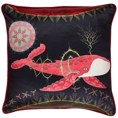 Cosmic Whale with red planet cushion cover, by Klaus Haapaniemi.