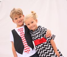 Sibling Christmas set brother sister chevron outfits by haddygrace, $78.00
