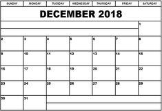 December 2018 Printable Calendar  #PrintableDecemberCalendar2018