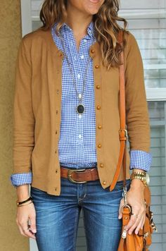 Camel Cardigan With Check Shirt And Jeans
