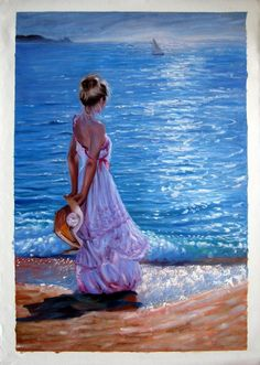 Hand-painted Portrait Art oil painting on canvas,Beach Girl (Unframed) 2 to give than receive quotes Painting Of Girl, Hand Painting Art, Oil Painting On Canvas, Figure Painting, Pictures To Paint, Art Pictures, Beach Art, Acrylic Art, Portrait Art