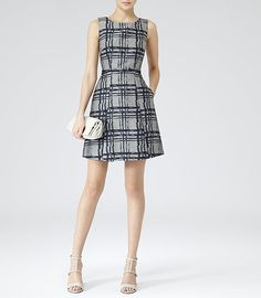 Peron Grey/navy Check Fit And Flare Dress - REISS