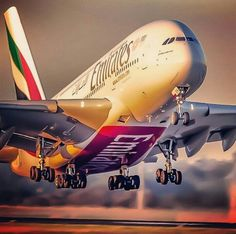 Emirates at Melbourne airport A380 Aircraft, Passenger Aircraft, Airbus A380, Aircraft Photos, Emirates Airline, Emirates A380, Trains, Airplane Photography, Aircraft Painting