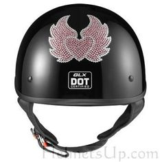 GLX DOT Womens Half Motorcycle Helmet- Swarovski H-W Pink