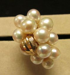 Vintage Estate 14K Ming's of Honolulu Large 12 High Luster Pink Pearl Ring by Alohamemorabilia