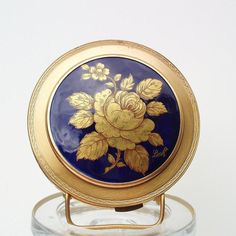 Vintage Limoges  Vintage Powder Compacts  Cosmetic Compact  Limoges France  Cobalt Blue  Mirror Compact Case